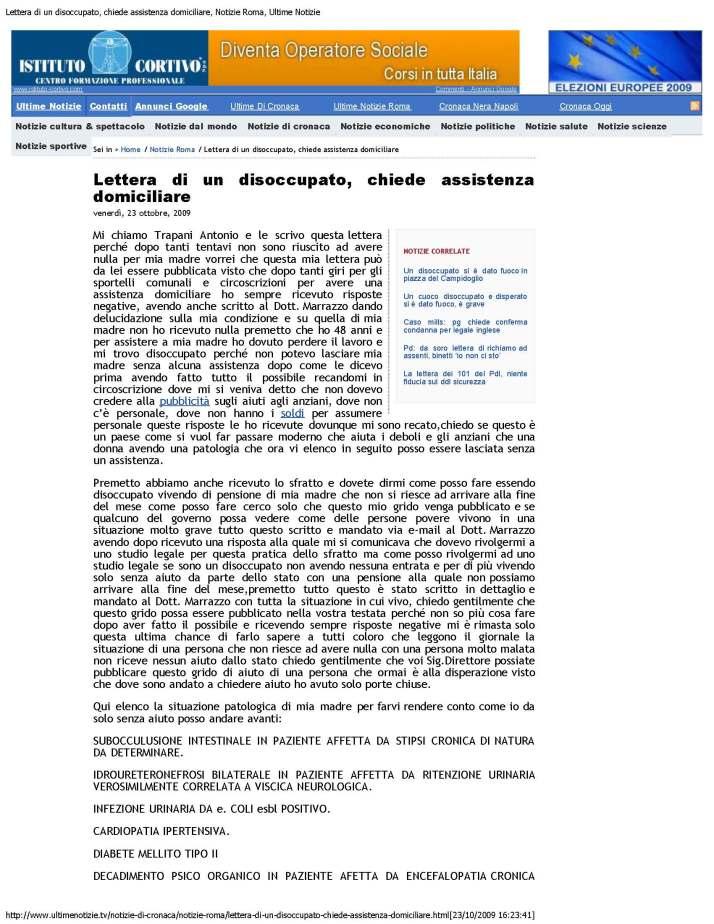 Lettera di un disoccupato, chiede assistenza domiciliare, Notizie Roma, Ulti_Page_1