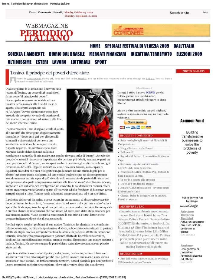 Tonino, il principe dei poveri chiede aiuto _ Periodico Italiano_Page_1